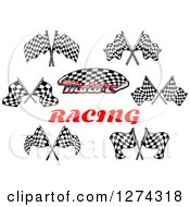 Clipart Of Racing Flags And Text Royalty Free Vector Illustration by Seamartini Graphics