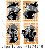 Clipart Of Silhouetted Ancient Medieval Greek Men And Women Water Bearers And Grapes Royalty Free Vector Illustration