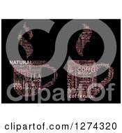 Poster, Art Print Of Pink Cup Shaped Tea And Coffee Word Collages On Black