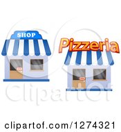 Clipart Of A Pizzeria And Shop With Open Signs In The Doors 2 Royalty Free Vector Illustration by Seamartini Graphics