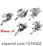 Clipart Of A Black And White Running Tribal Horses With Red Text Royalty Free Vector Illustration