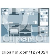 Clipart Of A Blue Kitchen Interior With Text 3 Royalty Free Vector Illustration