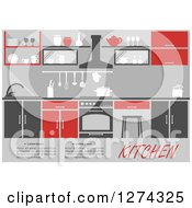Clipart Of A Red And Gray Kitchen Interior With Text Royalty Free Vector Illustration