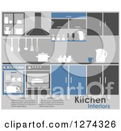 Clipart Of A Blue And Gray Kitchen Interior With Text Royalty Free Vector Illustration by Seamartini Graphics