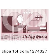 Clipart Of A Pink Toned Bedroom Interior With Text Royalty Free Vector Illustration