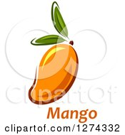 Clipart Of A Mango With Leaves And Text Royalty Free Vector Illustration by Seamartini Graphics