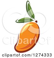 Clipart Of A Mango With Leaves Royalty Free Vector Illustration by Seamartini Graphics