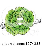 Clipart Of A Presenting Cabbage Character Holding A Thumb Up Royalty Free Vector Illustration by Seamartini Graphics