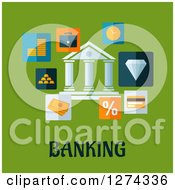 Clipart Of A Building With Money Icons Over Banking Text On Green Royalty Free Vector Illustration