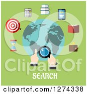 Clipart Of A Hand Searching The Globe With Icons And Text On Green Royalty Free Vector Illustration by Seamartini Graphics