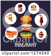 Clipart Of Fast Food Over Takeaway Text On Blue Royalty Free Vector Illustration by Vector Tradition SM