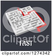 Clipart Of A 3d White Maze With A Red Arrow Leading To The Way Out To FAST Text Royalty Free Vector Illustration by Seamartini Graphics