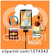 Clipart Of Headphones Connected To An MP3 Player Tablet With Apps And Books Connected To The Cloud With Media Text On Orange Royalty Free Vector Illustration by Vector Tradition SM
