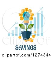 Clipart Of A Lightbulb With Coins Over A Growth Bar Graph And Text On White Royalty Free Vector Illustration