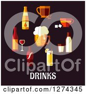 Clipart Of Beverages Over Drinks Text Royalty Free Vector Illustration