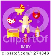 Baby And Accessories With Text On Purple