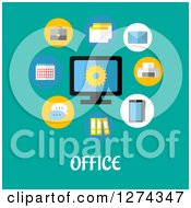 Clipart Of A Computer With Icons And Office Text On Turquoise Royalty Free Vector Illustration by Seamartini Graphics