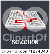 Clipart Of A 3d White Maze With A Red Arrow Leading To The Way Out To SELECTION Text Royalty Free Vector Illustration by Seamartini Graphics
