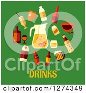 Clipart Of Beverages Over Drinks Text On Green Royalty Free Vector Illustration by Seamartini Graphics