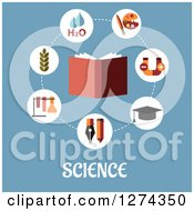 Clipart Of A Book With Science Icons And Text On Blue Royalty Free Vector Illustration by Seamartini Graphics
