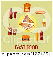 Clipart Of Fast Food Icons And Text On Green Royalty Free Vector Illustration by Seamartini Graphics