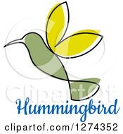 Clipart Of A Green Hummingbird Over Blue Text Royalty Free Vector Illustration