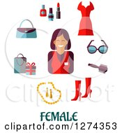 Clipart Of A Female Store Clerk With Fashion Accessories Over Text On White Royalty Free Vector Illustration