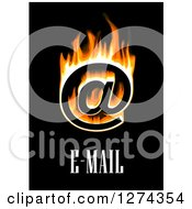 Clipart Of A Flaming Email At Symbol And Black On Text Royalty Free Vector Illustration by Vector Tradition SM