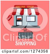 Clipart Of An Online Shop Store With A Computer Keyboard Over Shopping Text On Pink Royalty Free Vector Illustration by Seamartini Graphics