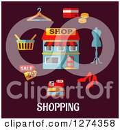 Clipart Of A Shop With Icons On Maroon With Text Royalty Free Vector Illustration by Seamartini Graphics