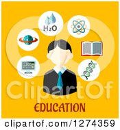 Clipart Of A Student And E Learning Icons Over Education Text On Yellow Royalty Free Vector Illustration