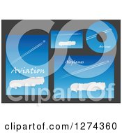 Clipart Of Aviation Template Designs With Jets In Blue Skies And Sample Text 2 Royalty Free Vector Illustration by Seamartini Graphics