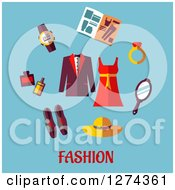 Clipart Of A Dress Coat And Fashion Accessories Over Text On Blue Royalty Free Vector Illustration by Seamartini Graphics