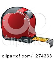 Clipart Of A Red Tape Measure Royalty Free Vector Illustration