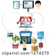 Clipart Of A Man Making A Purchase On A Laptop With Customer Service Royalty Free Vector Illustration