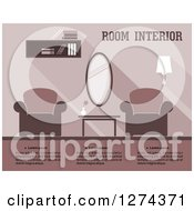 Clipart Of A Purple Toned Living Room Interior With Text Royalty Free Vector Illustration
