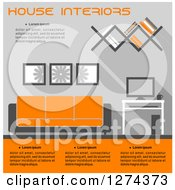 Clipart Of A Gray And Orange Toned Living Room Interior With Text Royalty Free Vector Illustration