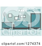 Clipart Of A Blue Toned Living Room Interior With Text Royalty Free Vector Illustration