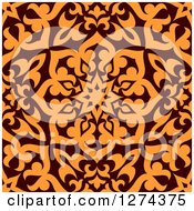 Clipart Of A Seamless Brown And Orange Arabic Or Islamic Design 8 Royalty Free Vector Illustration