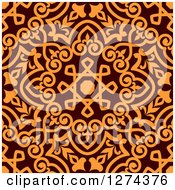 Clipart Of A Seamless Brown And Orange Arabic Or Islamic Design 9 Royalty Free Vector Illustration
