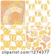 Clipart Of Bread Soft Pretzel And Croissant Backgrounds Royalty Free Vector Illustration by Seamartini Graphics