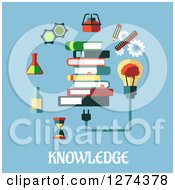 Clipart Of A Stack Of Books Light Bulb And Icons On Blue With Text Royalty Free Vector Illustration by Vector Tradition SM