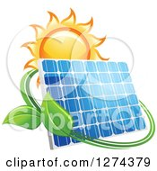 Clipart Of A Shining Sun And Solar Panel Encircled With A Swoosh And Green Leaves Royalty Free Vector Illustration