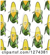 Clipart Of A Seamless Background Pattern Of Happy Corn Characters Royalty Free Vector Illustration