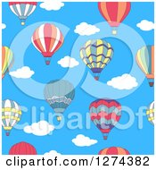 Clipart Of A Seamless Background Pattern Of Hot Air Balloons And Sky Royalty Free Vector Illustration