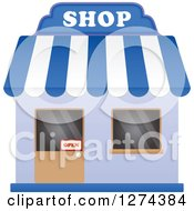 Clipart Of A Shop With An Open Sign In The Door 2 Royalty Free Vector Illustration by Seamartini Graphics