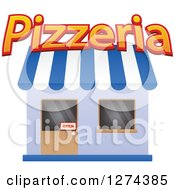 Clipart Of A Pizzeria Shop With An Open Sign In The Door 2 Royalty Free Vector Illustration by Seamartini Graphics