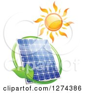 Clipart Of A Shining Sun And Solar Panel Encircled With A Swoosh And Green Leaves 2 Royalty Free Vector Illustration by Seamartini Graphics