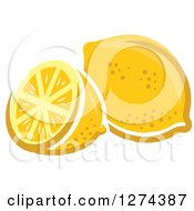 Clipart Of A Whole And Halved Lemon Royalty Free Vector Illustration by Seamartini Graphics
