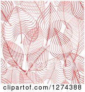 Clipart Of A Seamless Background Pattern Of Red Skeleton Leaves Royalty Free Vector Illustration by Seamartini Graphics